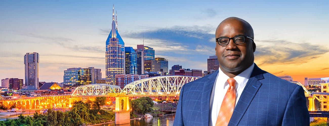 Nashville, Tennessee, USA downtown skyline on the Cumberland River and a picture of Attorney